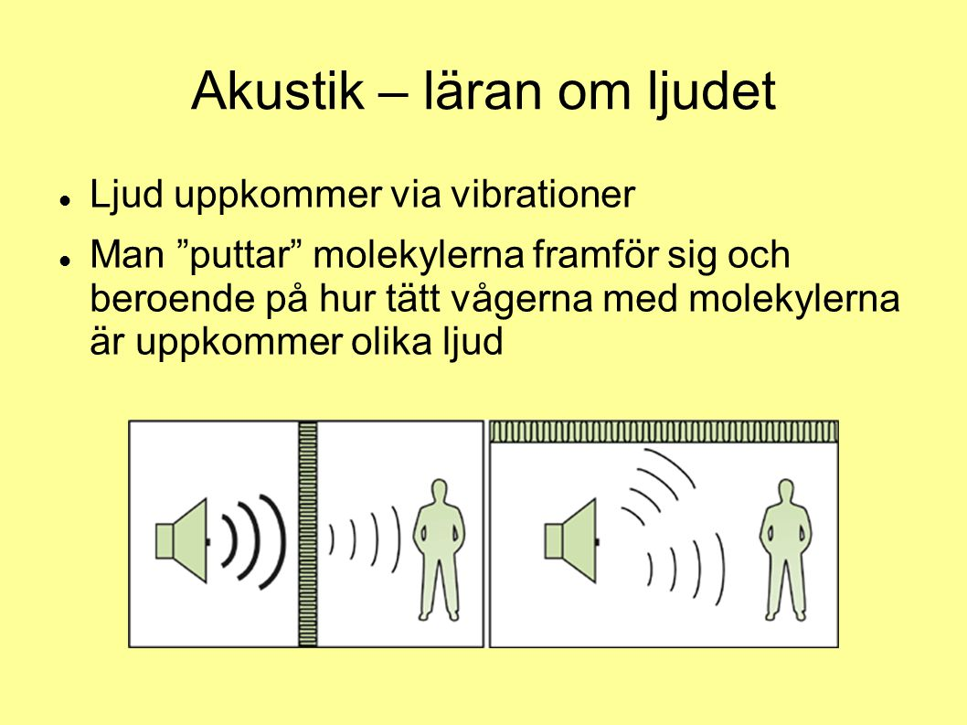 """Akustik – läran om ljudet Ljud uppkommer via vibrationer Man """"puttar"""" molekylerna framför sig och beroende på hur tätt vågerna med molekylerna är uppk"""