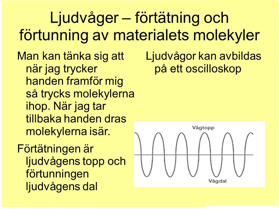 Ljudvågor kan avbildas på ett oscilloskop Man kan tänka sig att när jag trycker handen framför mig så trycks molekylerna ihop.