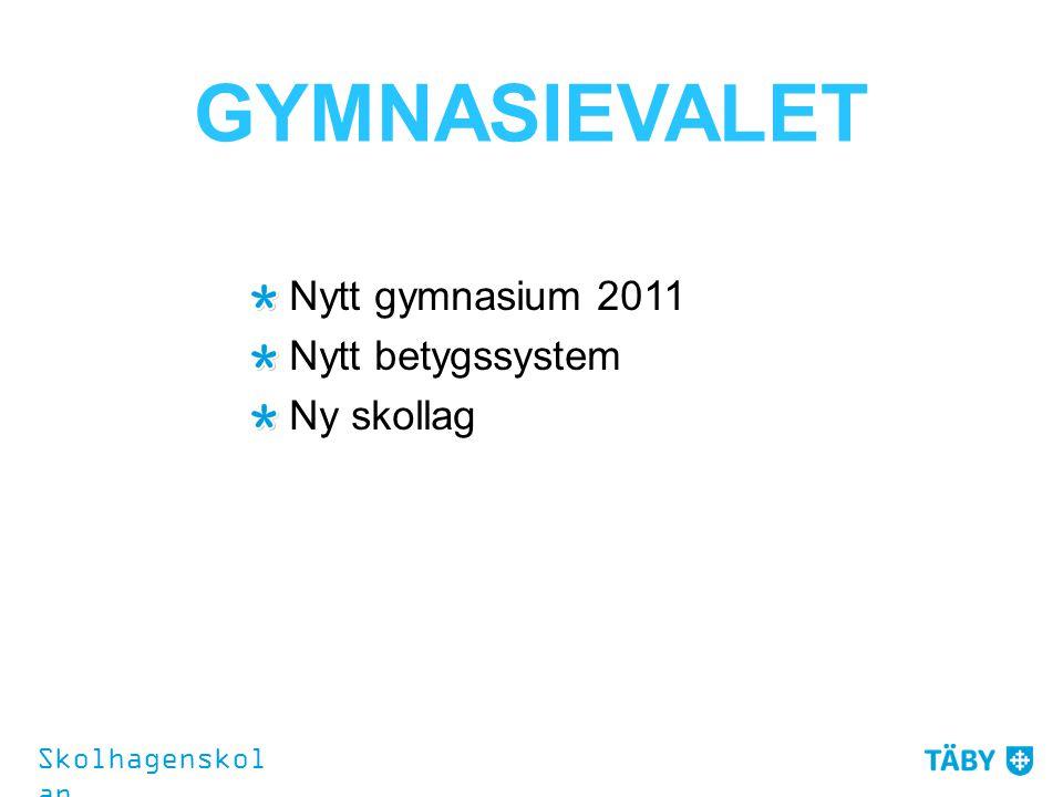 GYMNASIEVALET Nytt gymnasium 2011 Nytt betygssystem Ny skollag Skolhagenskol an