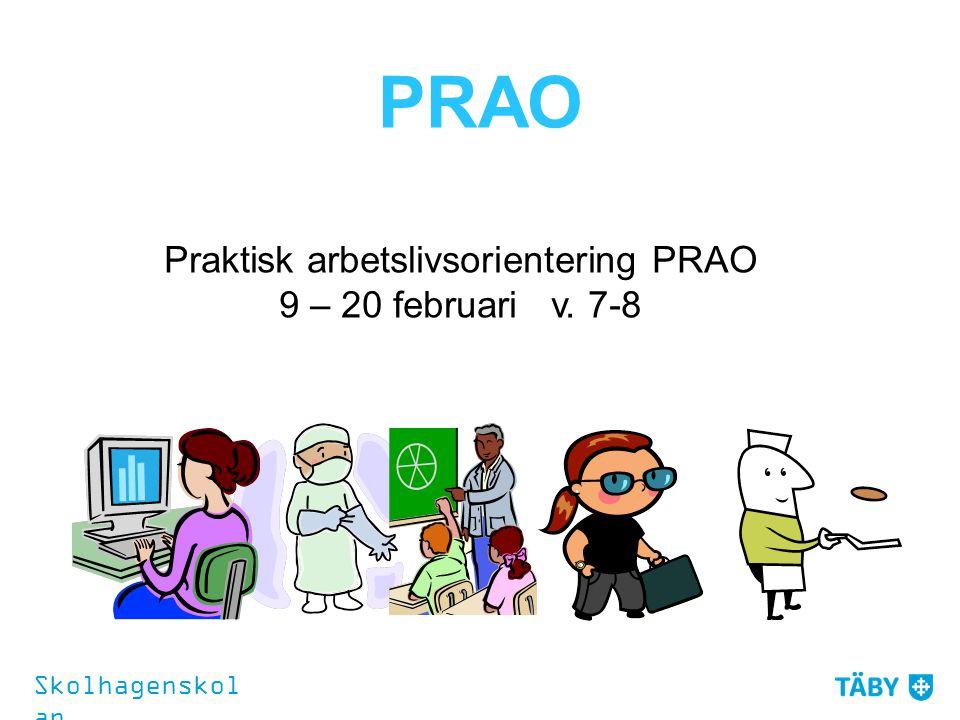 PRAO Praktisk arbetslivsorientering PRAO 9 – 20 februari v. 7-8 Skolhagenskol an