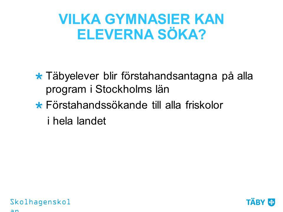 VILKA GYMNASIER KAN ELEVERNA SÖKA? Täbyelever blir förstahandsantagna på alla program i Stockholms län Förstahandssökande till alla friskolor i hela l