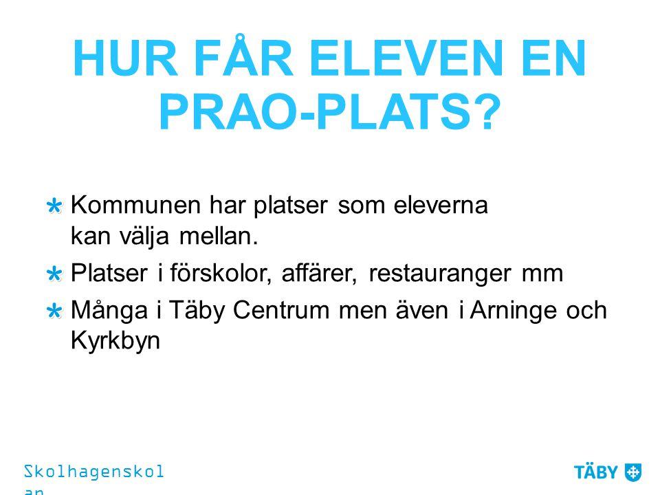HUR FÅR ELEVEN EN PRAO-PLATS? Kommunen har platser som eleverna kan välja mellan. Platser i förskolor, affärer, restauranger mm Många i Täby Centrum m