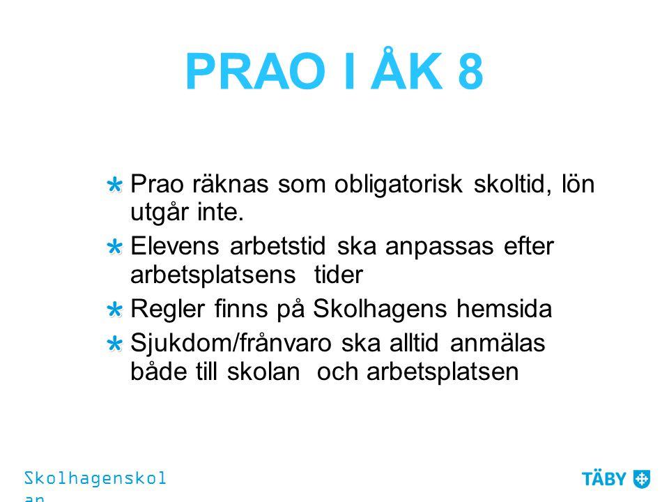 PRAO I ÅK 8 Prao räknas som obligatorisk skoltid, lön utgår inte. Elevens arbetstid ska anpassas efter arbetsplatsens tider Regler finns på Skolhagens