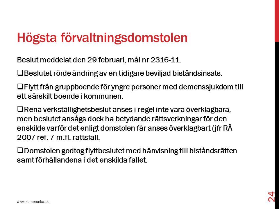 Myndighetsutövarnas roll www.kommunlex.se 25  Myndighetsutövningsbegreppet…  Handläggningsbeslut…  Slutliga beslut…  Verkställighetsbeslut…  Beslutet om insatser = beställning eller uppdrag till utförarna.