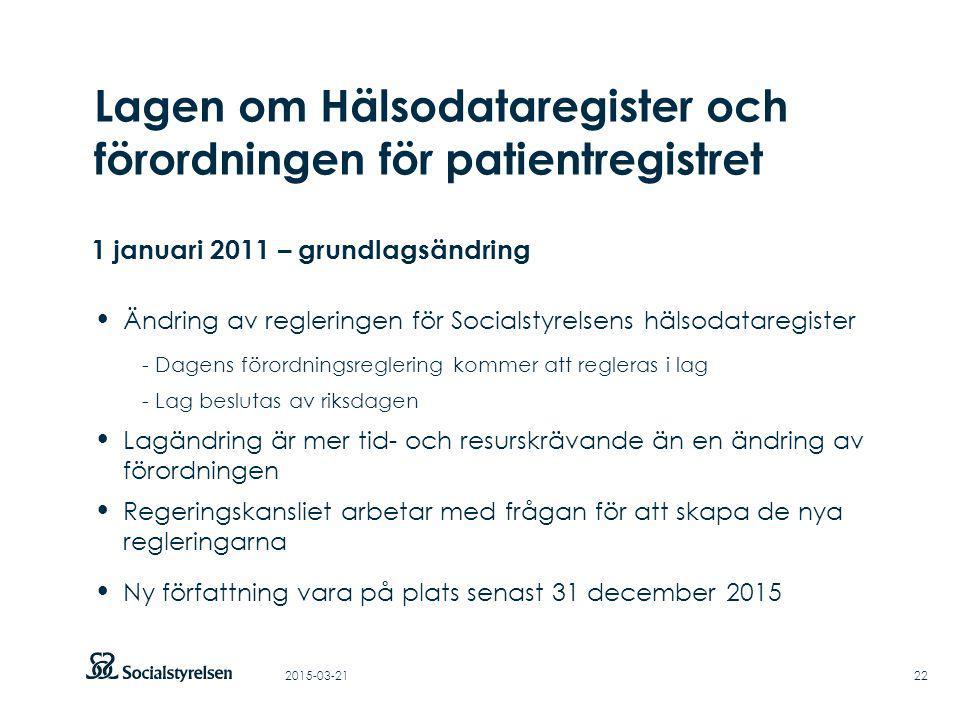 Att visa fotnot, datum, sidnummer Klicka på fliken Infoga och klicka på ikonen sidhuvud/sidfot Klistra in text: Klistra in texten, klicka på ikonen (Ctrl), välj Behåll endast text Rubrik: Century Gothic, bold 33pt 2015-03-2122 Lagen om Hälsodataregister och förordningen för patientregistret 1 januari 2011 – grundlagsändring Ändring av regleringen för Socialstyrelsens hälsodataregister - Dagens förordningsreglering kommer att regleras i lag - Lag beslutas av riksdagen Lagändring är mer tid- och resurskrävande än en ändring av förordningen Regeringskansliet arbetar med frågan för att skapa de nya regleringarna Ny författning vara på plats senast 31 december 2015