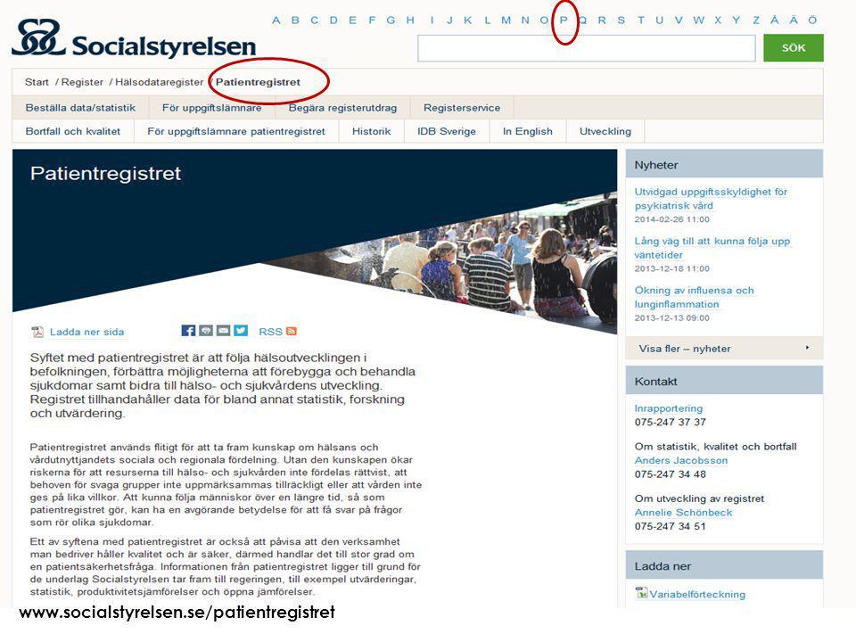 Att visa fotnot, datum, sidnummer Klicka på fliken Infoga och klicka på ikonen sidhuvud/sidfot Klistra in text: Klistra in texten, klicka på ikonen (Ctrl), välj Behåll endast text 2015-03-2125 www.socialstyrelsen.se/patientregistret
