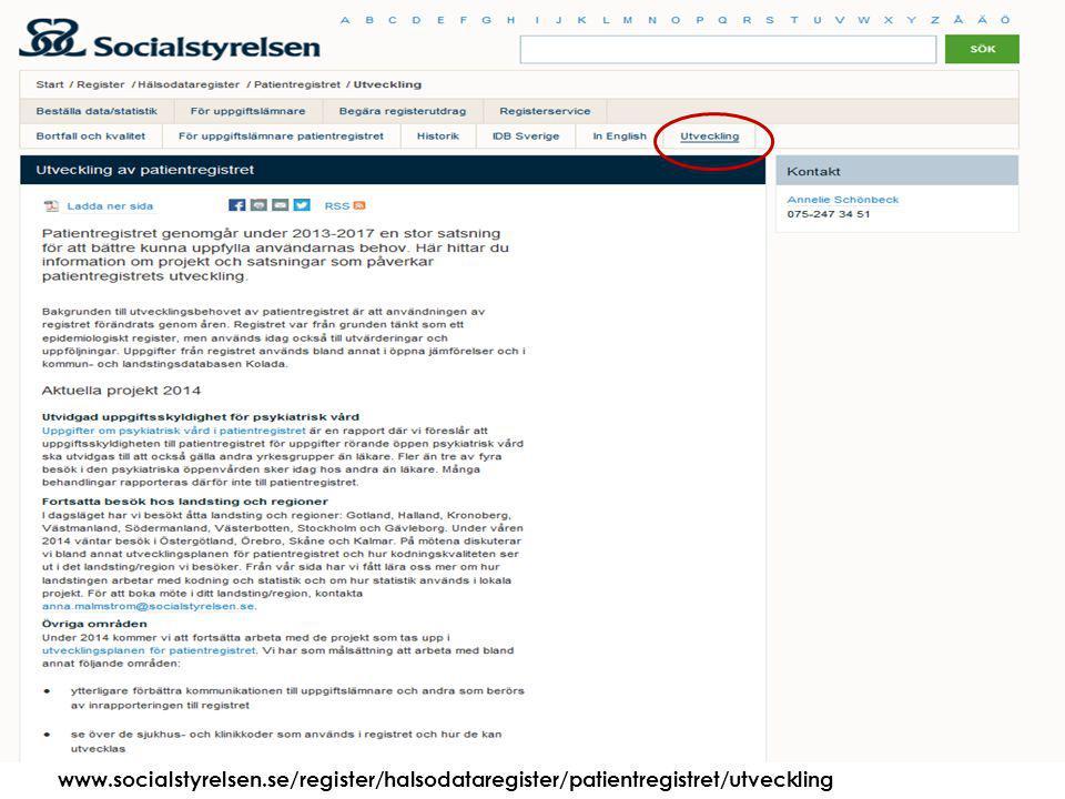 Att visa fotnot, datum, sidnummer Klicka på fliken Infoga och klicka på ikonen sidhuvud/sidfot Klistra in text: Klistra in texten, klicka på ikonen (Ctrl), välj Behåll endast text 2015-03-2127 www.socialstyrelsen.se/register/halsodataregister/patientregistret/utveckling