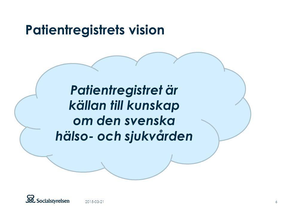 Att visa fotnot, datum, sidnummer Klicka på fliken Infoga och klicka på ikonen sidhuvud/sidfot Klistra in text: Klistra in texten, klicka på ikonen (Ctrl), välj Behåll endast text Rubrik: Century Gothic, bold 33pt Patientregistrets vision 2015-03-216 Patientregistret är källan till kunskap om den svenska hälso- och sjukvården