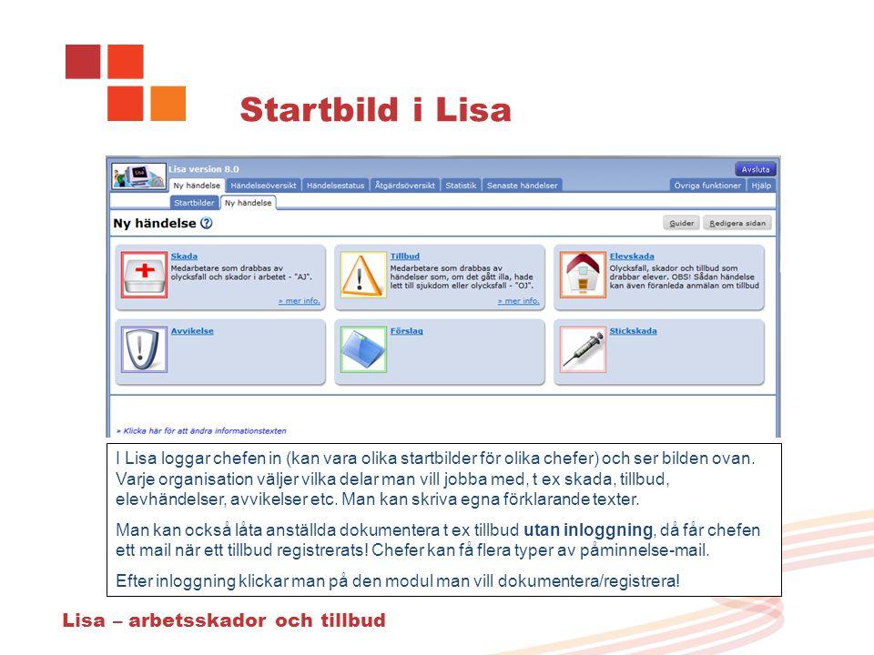Startbild i Lisa Lisa – arbetsskador och tillbud I Lisa loggar chefen in (kan vara olika startbilder för olika chefer) och ser bilden ovan.