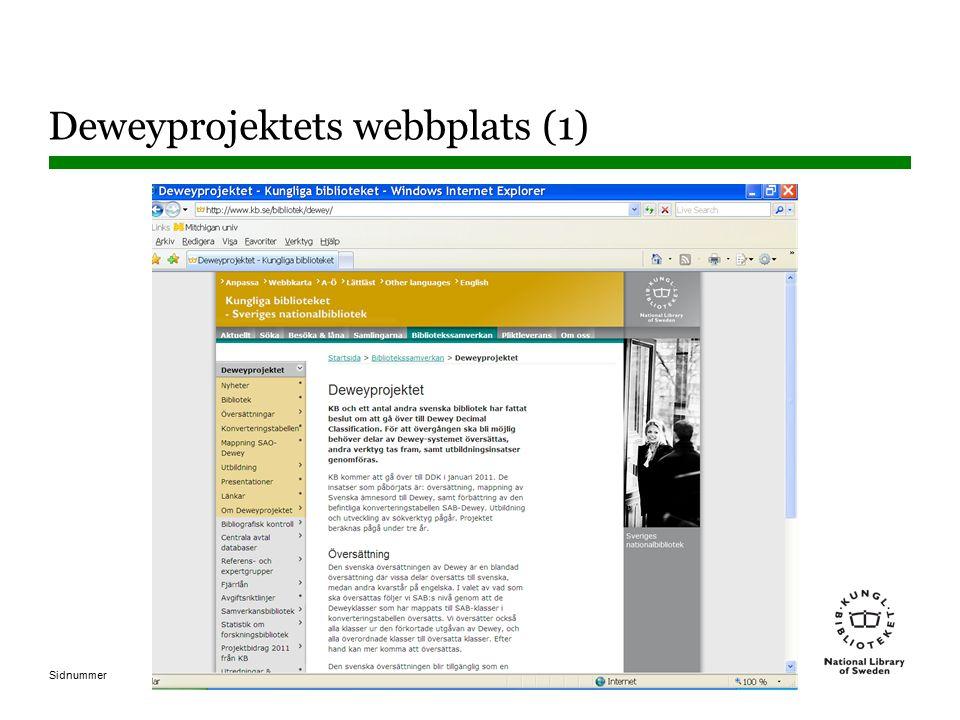 Sidnummer Deweyprojektets webbplats (1)