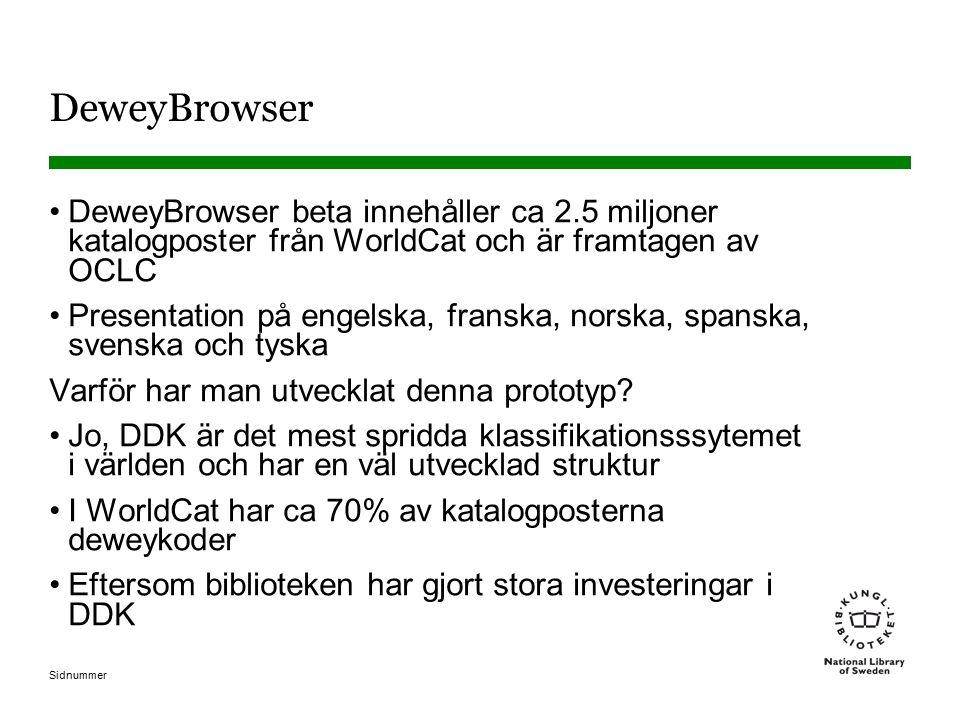 Sidnummer DeweyBrowser DeweyBrowser beta innehåller ca 2.5 miljoner katalogposter från WorldCat och är framtagen av OCLC Presentation på engelska, franska, norska, spanska, svenska och tyska Varför har man utvecklat denna prototyp.