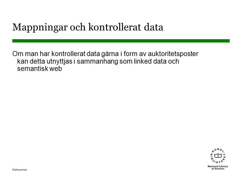 Sidnummer Mappningar och kontrollerat data Om man har kontrollerat data gärna i form av auktoritetsposter kan detta utnyttjas i sammanhang som linked data och semantisk web