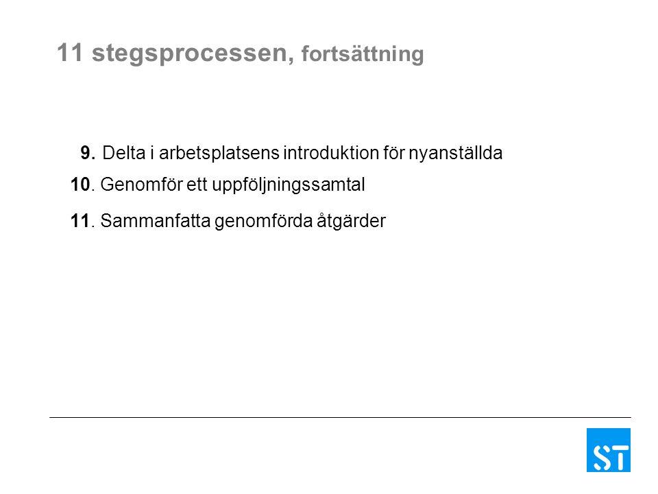 11 stegsprocessen, fortsättning 9. Delta i arbetsplatsens introduktion för nyanställda 10.
