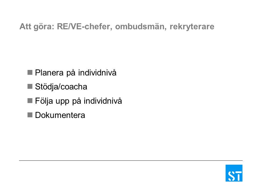 Att göra: RE/VE-chefer, ombudsmän, rekryterare Planera på individnivå Stödja/coacha Följa upp på individnivå Dokumentera