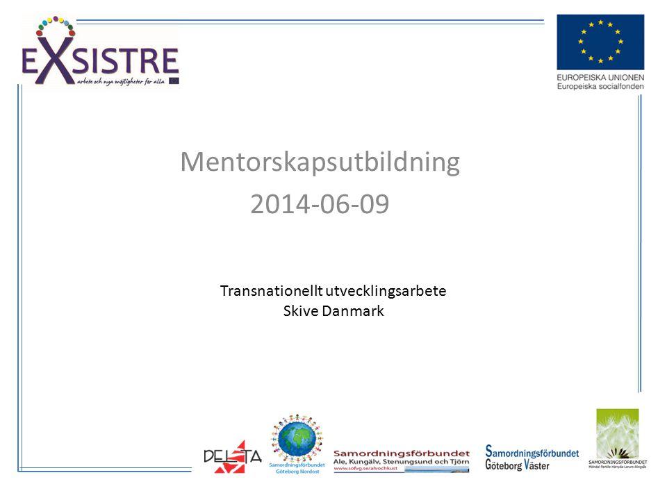 Mentorskapsutbildning 2014-06-09 Transnationellt utvecklingsarbete Skive Danmark