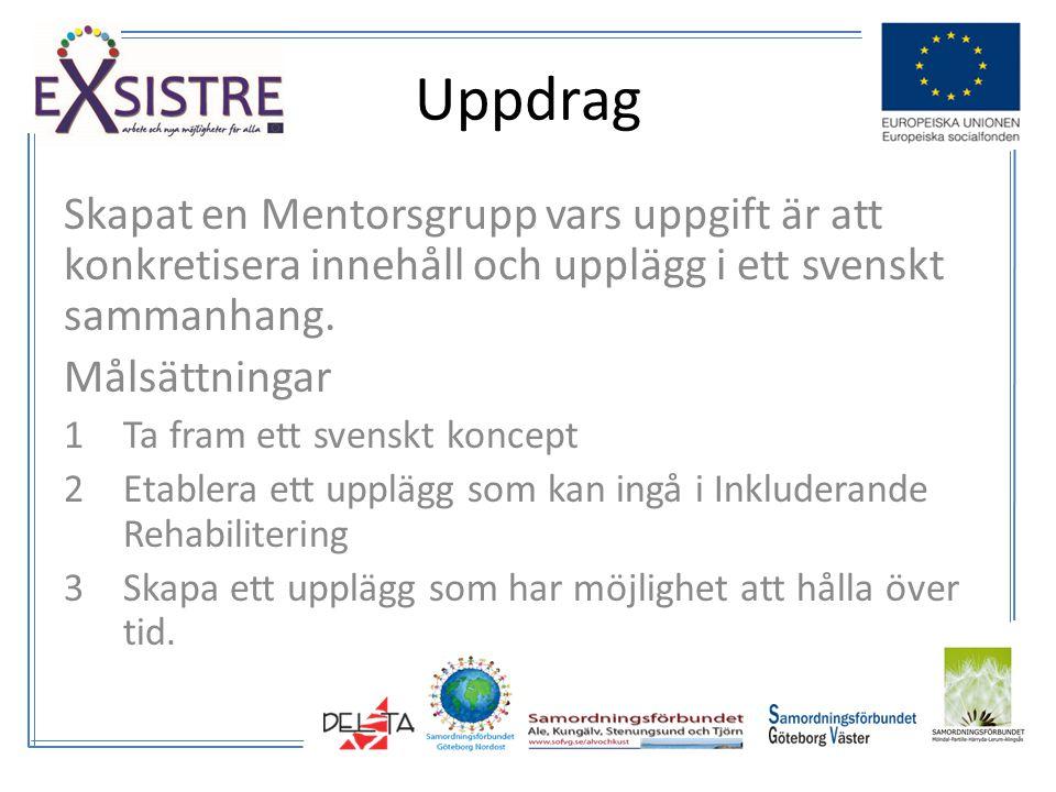 Skapat en Mentorsgrupp vars uppgift är att konkretisera innehåll och upplägg i ett svenskt sammanhang.