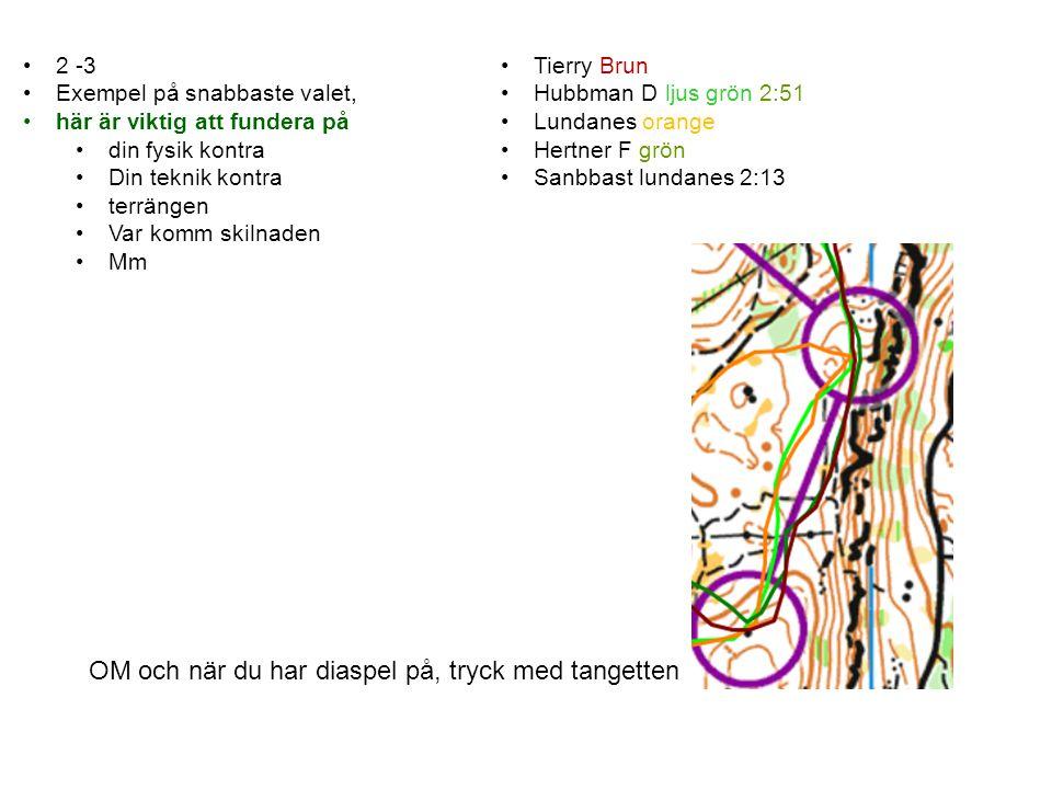 2 -3 Exempel på snabbaste valet, här är viktig att fundera på din fysik kontra Din teknik kontra terrängen Var komm skilnaden Mm OM och när du har diaspel på, tryck med tangetten Tierry Brun Hubbman D ljus grön 2:51 Lundanes orange Hertner F grön Sanbbast lundanes 2:13