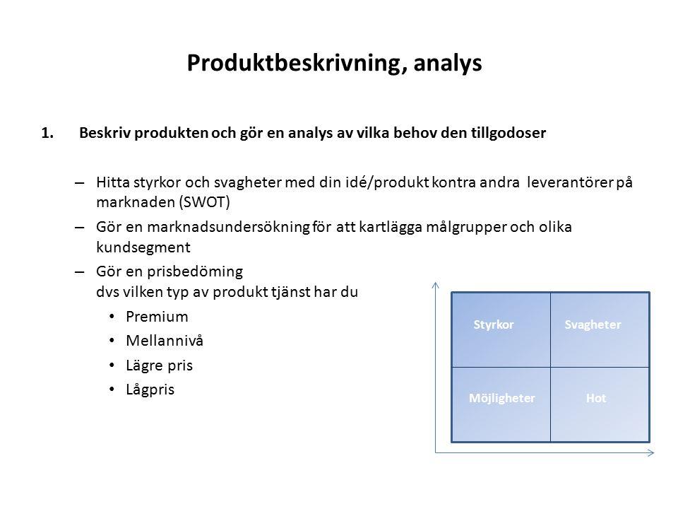 Produktbeskrivning, analys 1.Beskriv produkten och gör en analys av vilka behov den tillgodoser – Hitta styrkor och svagheter med din idé/produkt kont