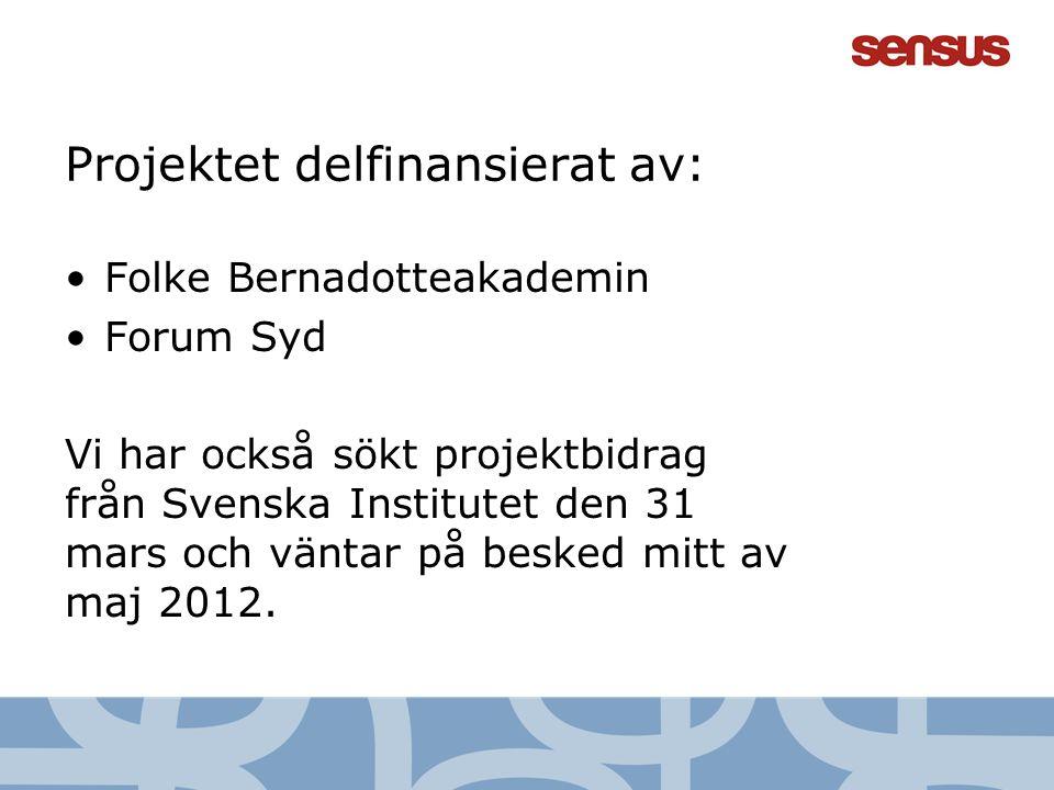15 Projektet delfinansierat av: Folke Bernadotteakademin Forum Syd Vi har också sökt projektbidrag från Svenska Institutet den 31 mars och väntar på b