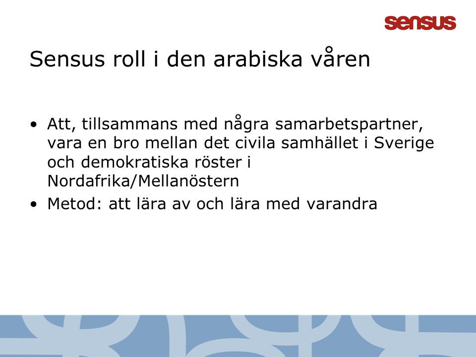 4 Sensus roll i den arabiska våren Att, tillsammans med några samarbetspartner, vara en bro mellan det civila samhället i Sverige och demokratiska rös