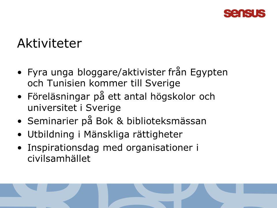 6 Aktiviteter Fyra unga bloggare/aktivister från Egypten och Tunisien kommer till Sverige Föreläsningar på ett antal högskolor och universitet i Sveri