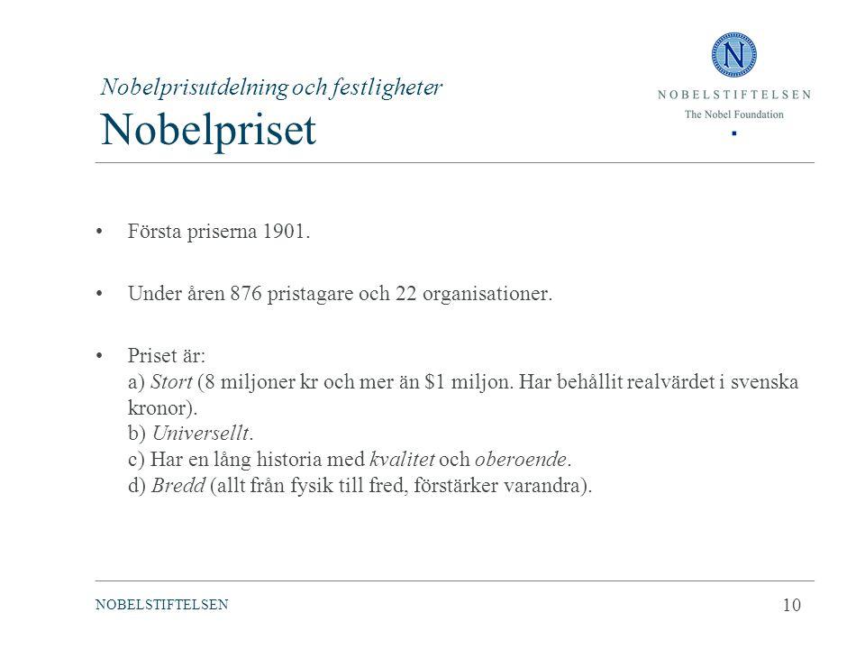 Nobelprisutdelning och festligheter Nobelpriset Första priserna 1901. Under åren 876 pristagare och 22 organisationer. Priset är: a) Stort (8 miljoner