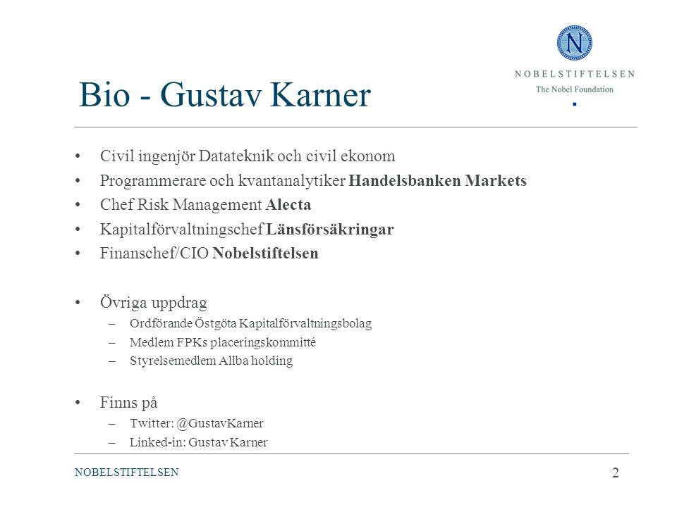 Bio - Gustav Karner Civil ingenjör Datateknik och civil ekonom Programmerare och kvantanalytiker Handelsbanken Markets Chef Risk Management Alecta Kap