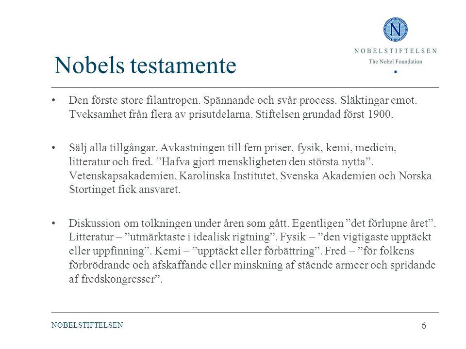 Nobels testamente Den förste store filantropen. Spännande och svår process. Släktingar emot. Tveksamhet från flera av prisutdelarna. Stiftelsen grunda