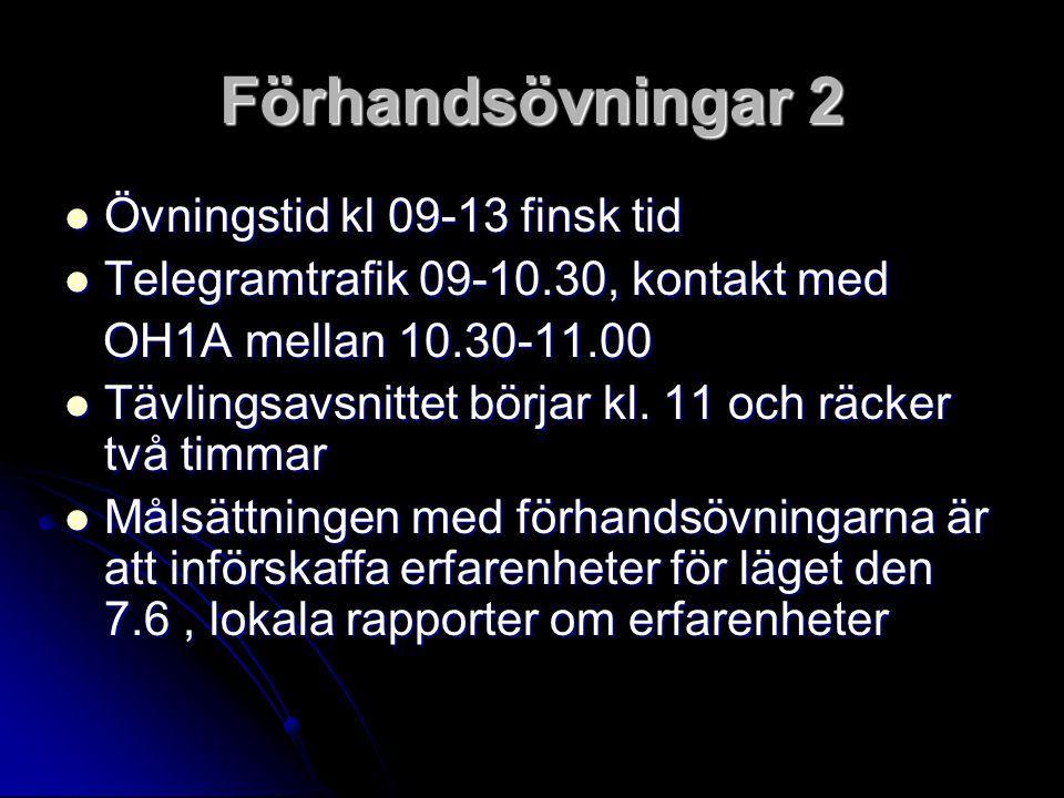 Förhandsövningar 2 Övningstid kl 09-13 finsk tid Övningstid kl 09-13 finsk tid Telegramtrafik 09-10.30, kontakt med Telegramtrafik 09-10.30, kontakt med OH1A mellan 10.30-11.00 OH1A mellan 10.30-11.00 Tävlingsavsnittet börjar kl.