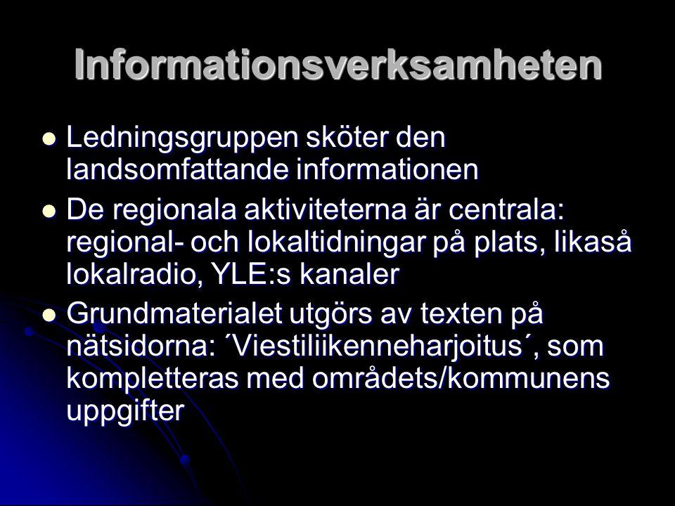 Informationsverksamheten Ledningsgruppen sköter den landsomfattande informationen Ledningsgruppen sköter den landsomfattande informationen De regional