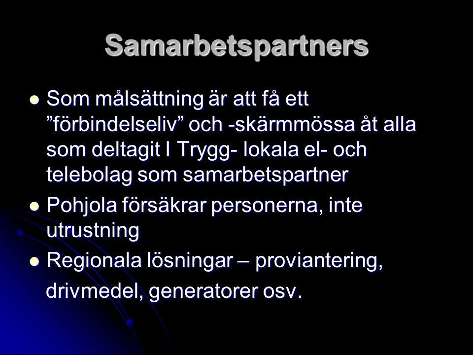 """Samarbetspartners Som målsättning är att få ett """"förbindelseliv"""" och -skärmmössa åt alla som deltagit I Trygg- lokala el- och telebolag som samarbetsp"""
