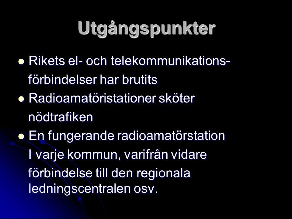 Utgångspunkter Rikets el- och telekommunikations- Rikets el- och telekommunikations- förbindelser har brutits förbindelser har brutits Radioamatörista