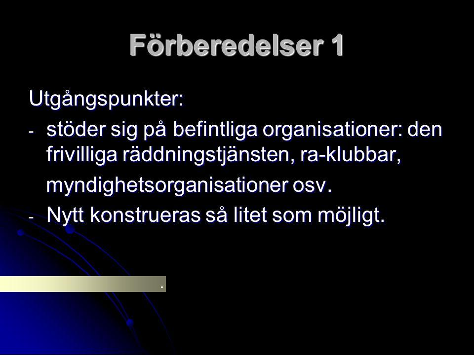 Förberedelser 1 Utgångspunkter: - stöder sig på befintliga organisationer: den frivilliga räddningstjänsten, ra-klubbar, myndighetsorganisationer osv.