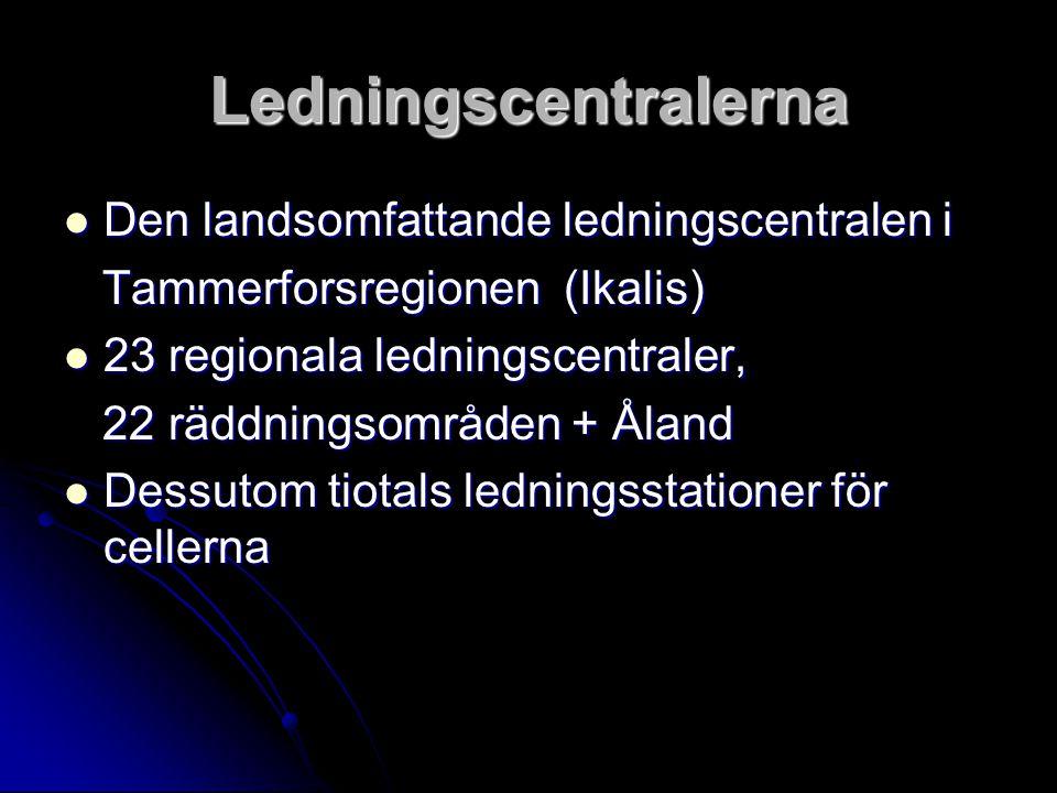 Ledningscentralerna Den landsomfattande ledningscentralen i Den landsomfattande ledningscentralen i Tammerforsregionen (Ikalis) Tammerforsregionen (Ikalis) 23 regionala ledningscentraler, 23 regionala ledningscentraler, 22 räddningsområden + Åland 22 räddningsområden + Åland Dessutom tiotals ledningsstationer för cellerna Dessutom tiotals ledningsstationer för cellerna