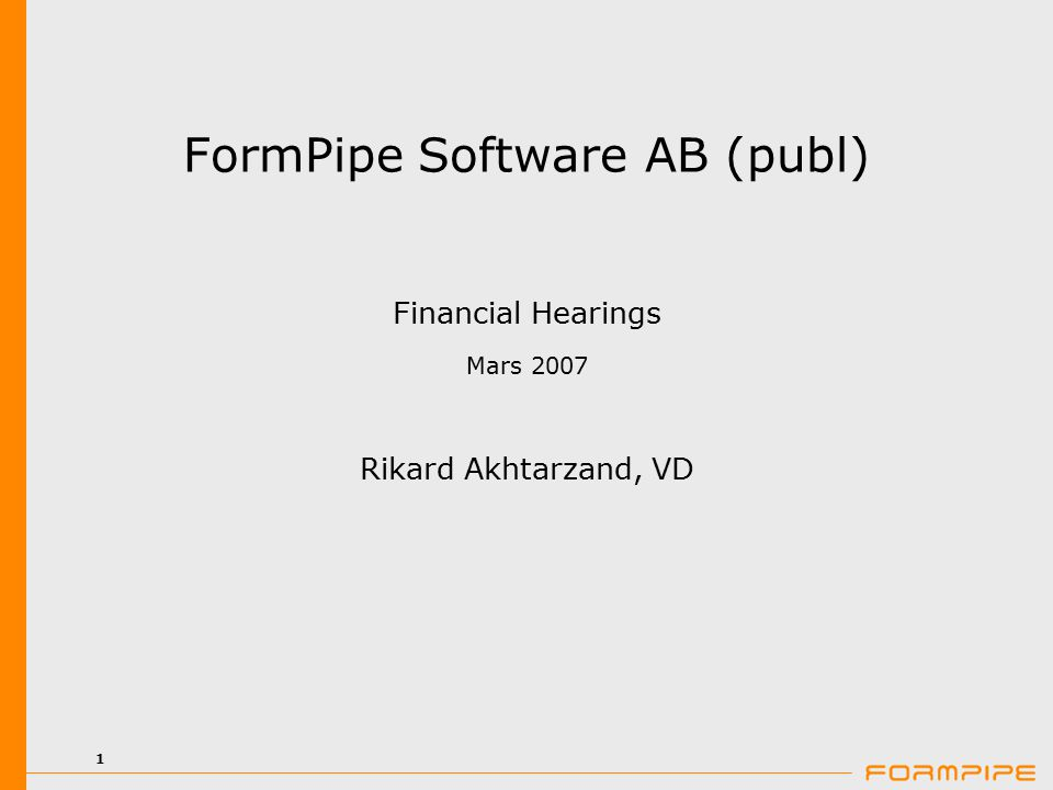 2 FormPipe Software FormPipe Software AB (publ) är ett programvarubolag inom ECM (Enterprise Content Management).