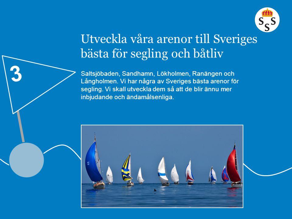 Utveckla våra arenor till Sveriges bästa för segling och båtliv Saltsjöbaden, Sandhamn, Lökholmen, Ranängen och Långholmen. Vi har några av Sveriges b