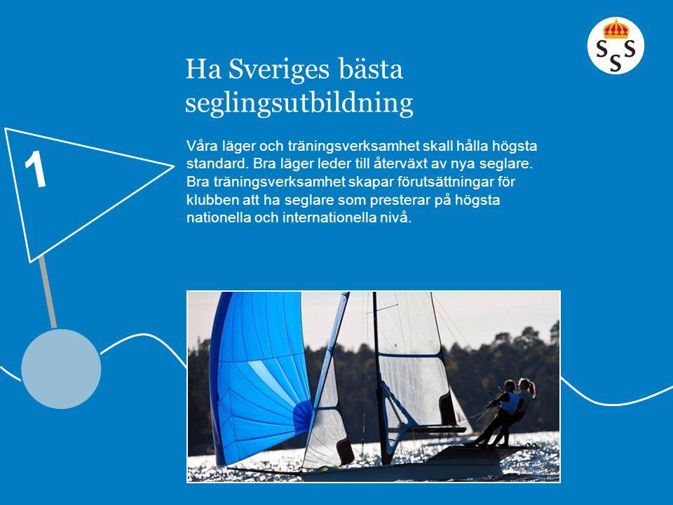 Ha Sveriges bästa seglingsutbildning Våra läger och träningsverksamhet skall hålla högsta standard. Bra läger leder till återväxt av nya seglare. Bra