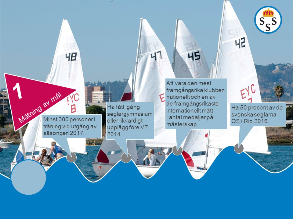 Minst 300 personer i träning vid utgång av säsongen 2017. Ha fått igång seglargymnasium eller likvärdigt upplägg före VT 2014. Att vara den mest framg