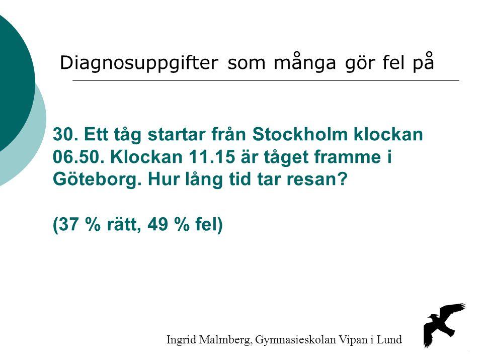 30. Ett tåg startar från Stockholm klockan 06.50. Klockan 11.15 är tåget framme i Göteborg. Hur lång tid tar resan? (37 % rätt, 49 % fel) Ingrid Malmb