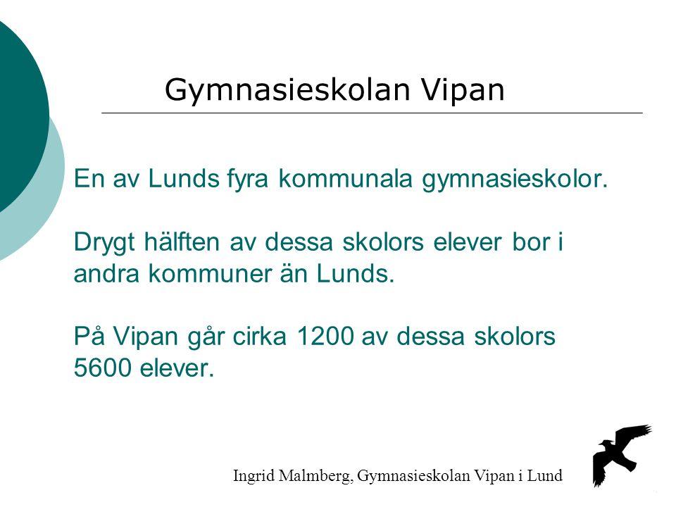 En av Lunds fyra kommunala gymnasieskolor. Drygt hälften av dessa skolors elever bor i andra kommuner än Lunds. På Vipan går cirka 1200 av dessa skolo