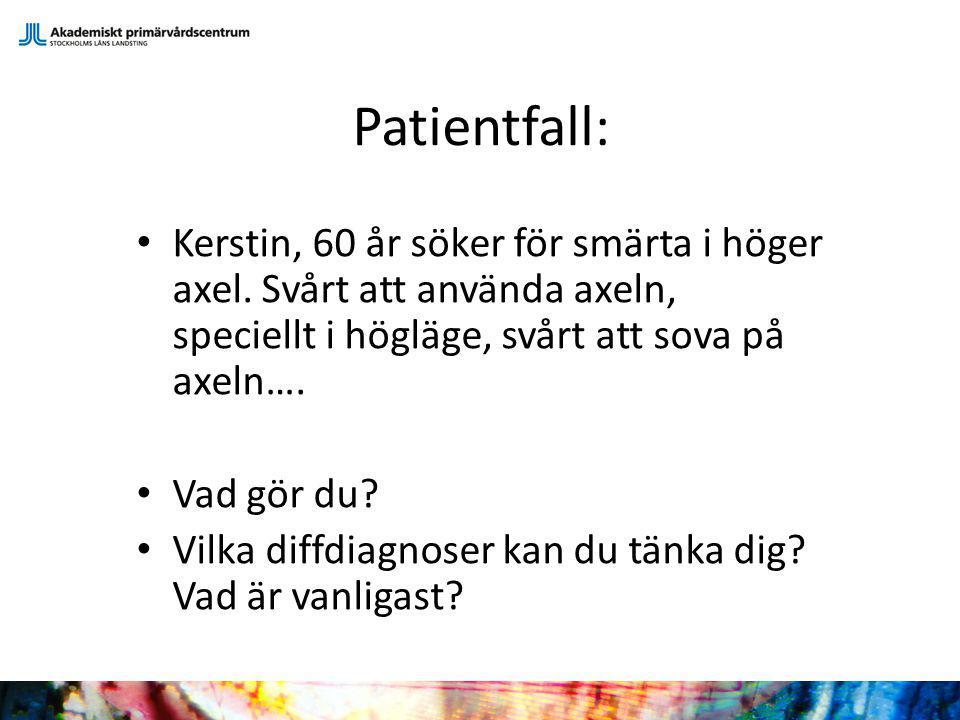 Patientfall: Kerstin, 60 år söker för smärta i höger axel. Svårt att använda axeln, speciellt i högläge, svårt att sova på axeln…. Vad gör du? Vilka d