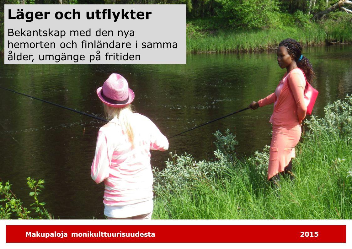 Makupaloja monikulttuurisuudesta2015 Läger och utflykter Bekantskap med den nya hemorten och finländare i samma ålder, umgänge på fritiden
