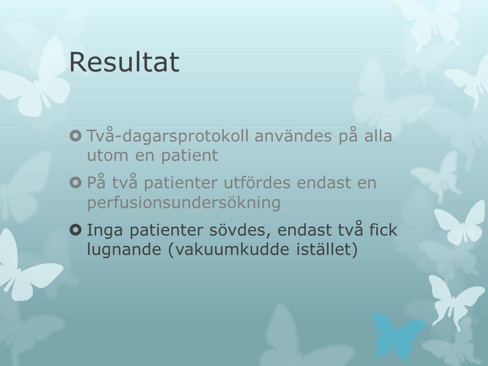 Resultat  Två-dagarsprotokoll användes på alla utom en patient  På två patienter utfördes endast en perfusionsundersökning  Inga patienter sövdes,