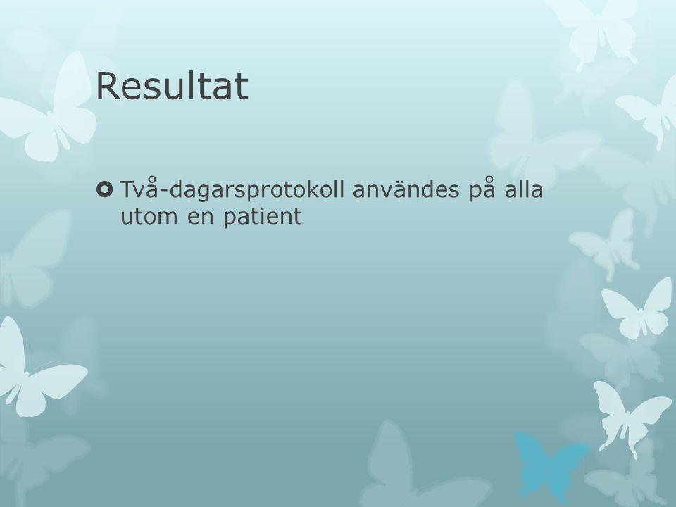 Resultat  Två-dagarsprotokoll användes på alla utom en patient  På två patienter utfördes endast en perfusionsundersökning