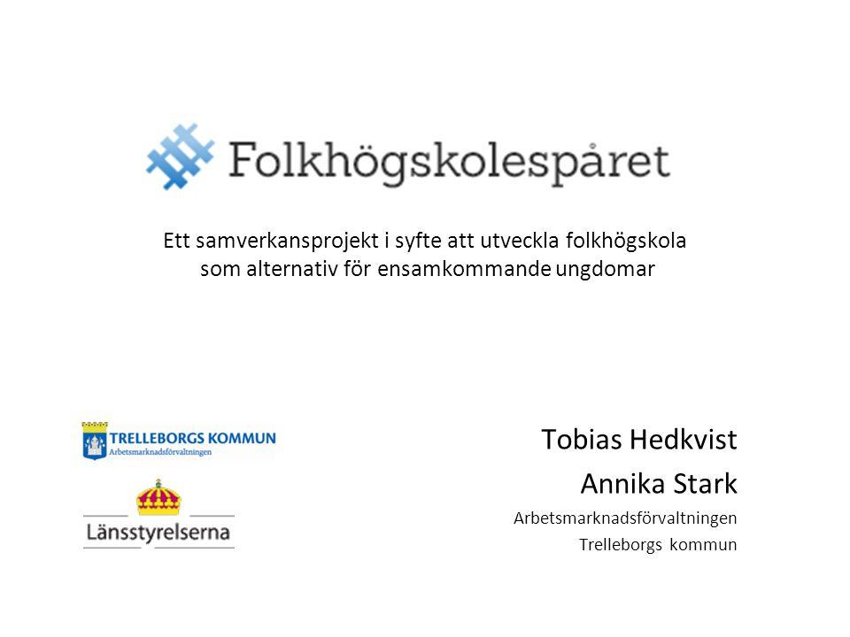 Tobias Hedkvist Annika Stark Arbetsmarknadsförvaltningen Trelleborgs kommun Ett samverkansprojekt i syfte att utveckla folkhögskola som alternativ för ensamkommande ungdomar