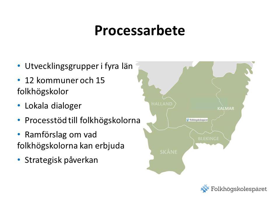 Processarbete Utvecklingsgrupper i fyra län 12 kommuner och 15 folkhögskolor Lokala dialoger Processtöd till folkhögskolorna Ramförslag om vad folkhögskolorna kan erbjuda Strategisk påverkan
