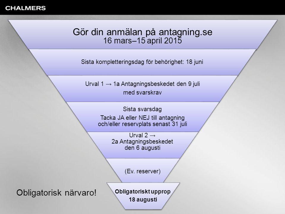 Gör din anmälan på antagning.se 16 mars–15 april 2015 Sista kompletteringsdag för behörighet: 18 juni Urval 1 → 1a Antagningsbeskedet den 9 juli med s