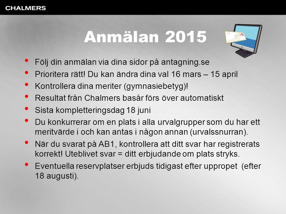 Anmälan 2015 Följ din anmälan via dina sidor på antagning.se Prioritera rätt! Du kan ändra dina val 16 mars – 15 april Kontrollera dina meriter (gymna