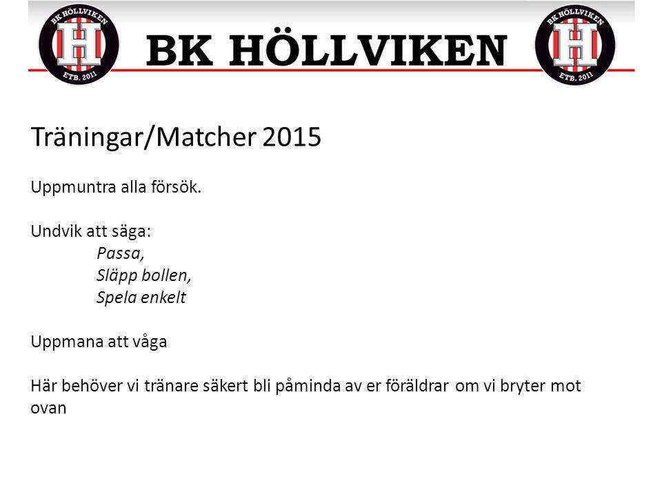 Träningar/Matcher 2015 Uppmuntra alla försök.