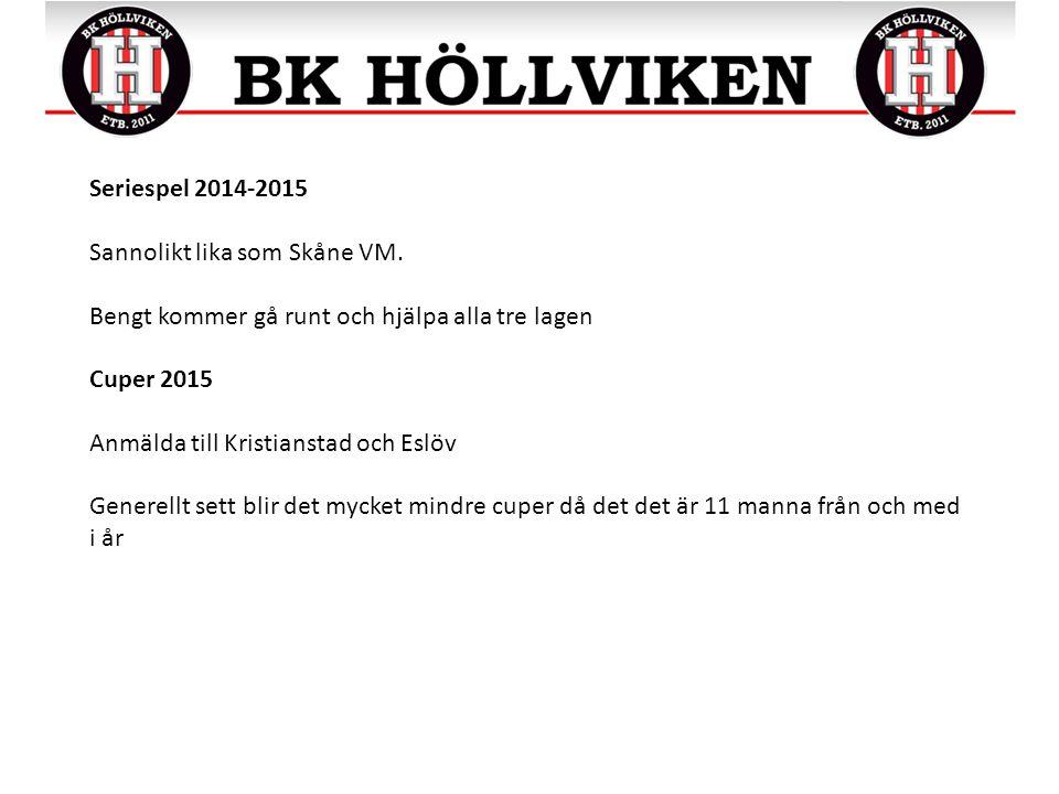 Seriespel 2014-2015 Sannolikt lika som Skåne VM.